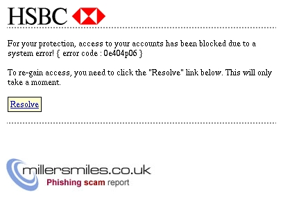 HSBC Account Alert : Access Blocked - HSBC Bank plc Phishing Scams
