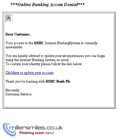 Online Banking Access Denied*** - HSBC Phishing Scams