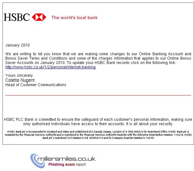 Hsbc Bank Personal Notification , - HSBC Phishing Scams
