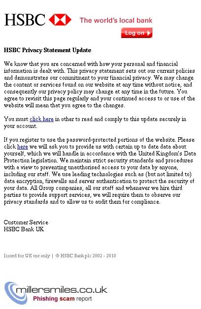 Your HSBC Account Privacy Statement Update - HSBC Bank UK Phishing