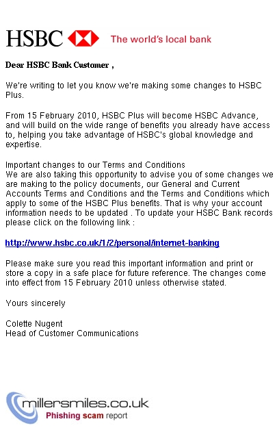 Important Changes to HSBC Plus, - HSBC Phishing Scams