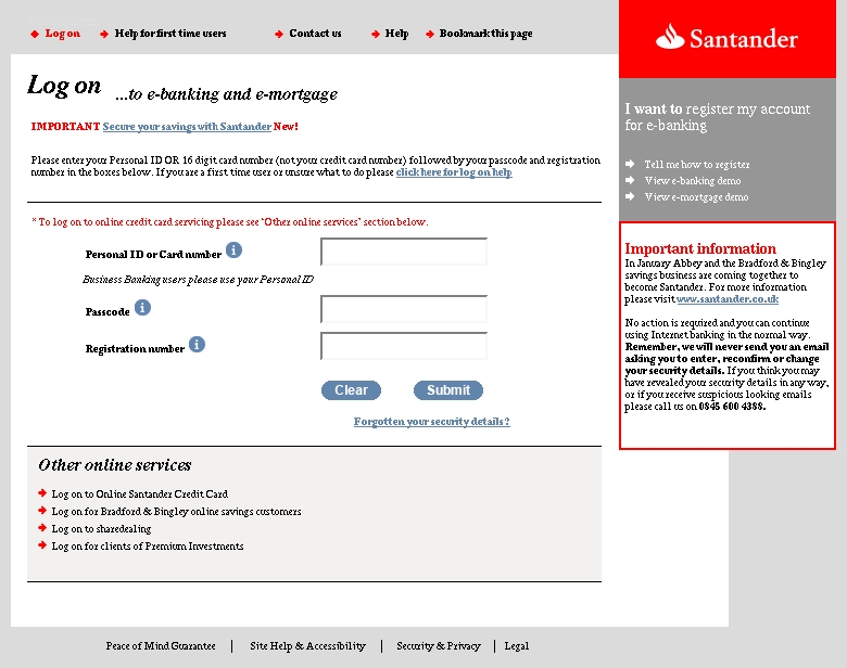 santander online banking log on