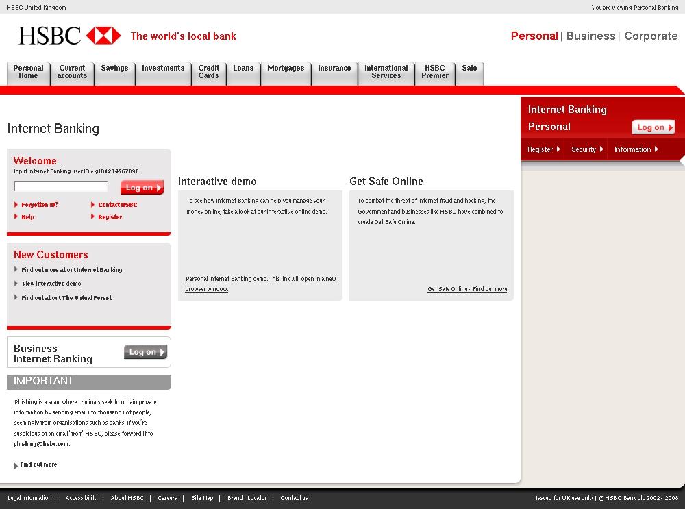 HSBC Bank Plc - Secure Your Online Banking Details - HSBC