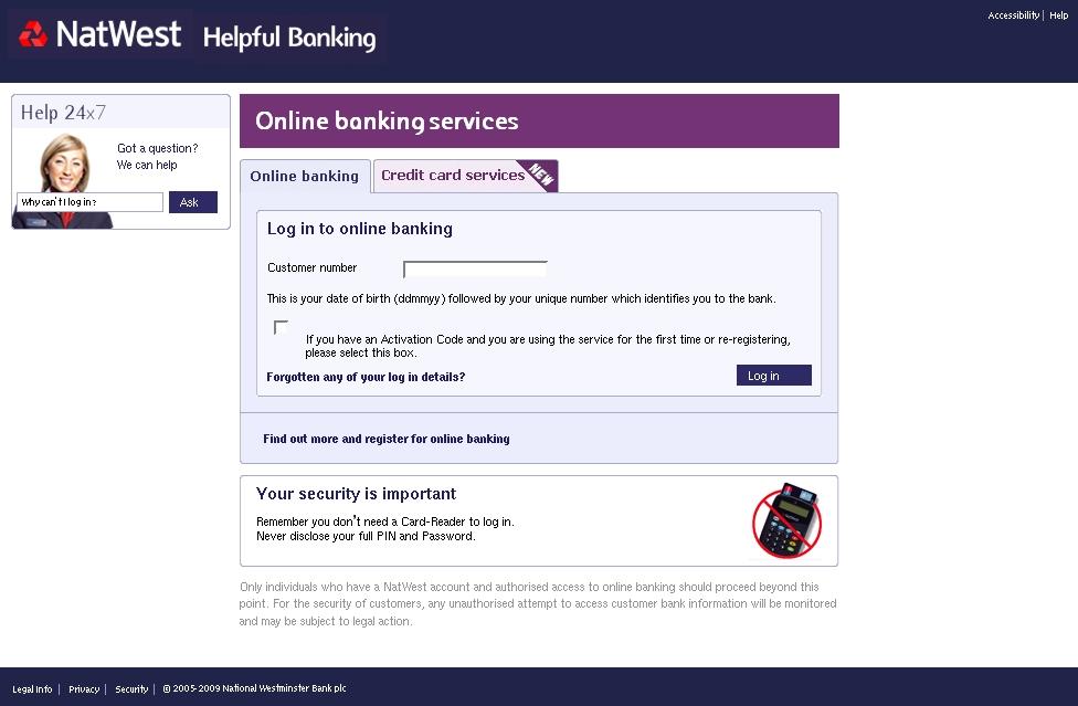 natwest internet banking login