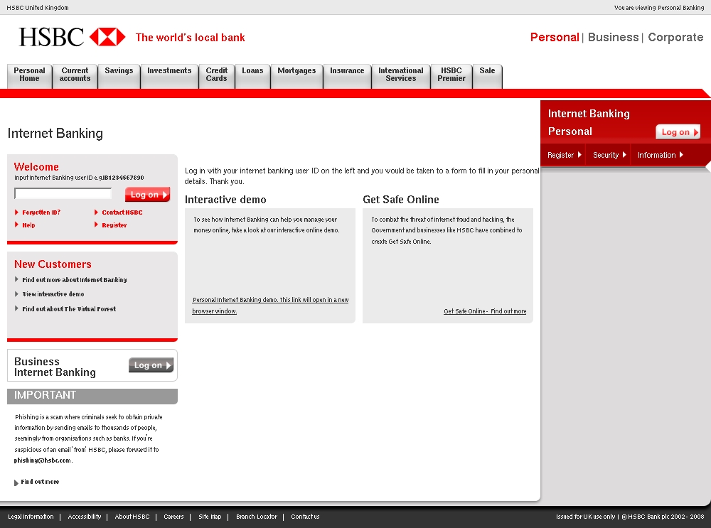 HSBC UK Online Banking Notification - HSBC Phishing Scams